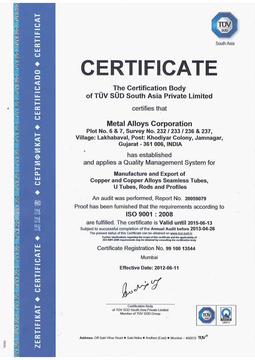 Quality Assurance - Metal Alloys Corporation